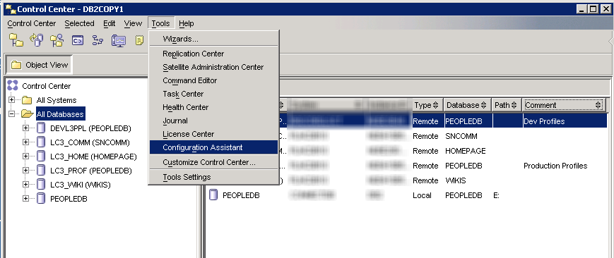 Using the DB2 Control Center to Connect to a Remote Database